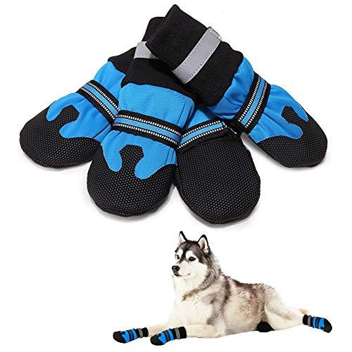 DC CLOUD Zapatos para Perros Calcetines para Perros De Invierno Zapatos Antideslizantes Impermeables para Perros Sujetador De Velcro Raquetas De Nieve para Perros De Tamaño Mediano Blue,XXL