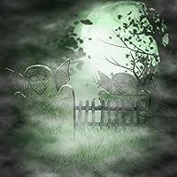 GooEoo 満月の背景6 x 6フィート写真の背景ハッピーハロウィン怖い墓地墓石不気味な森のフェンス子供キッズパーティー写真ビデオスタジオ小道具