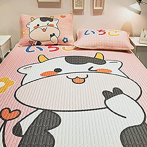 Bnbud Three-Piece Latex mat Mattress Set, ice Silk mat Cartoon Style, Foldable, Washable mat Pillowcase Bedding, The Best Gift for Children's (3pcs) (10#,6x6.6 FT(3pcs))