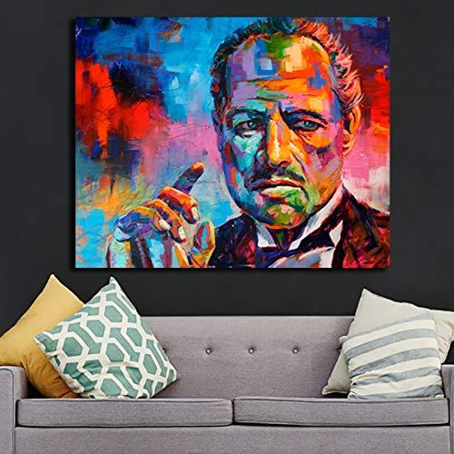 KWzEQ Graffiti Pate Porträtmalerei auf Leinwand, um heiße Filmplakat Wandmalerei Bilder zu drucken,Rahmenlose Malerei,75x112cm