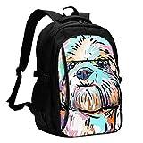 XCNGG Cute Dog Travel Laptop Mochila College School Bag Mochila Informal con Puerto de Carga USB