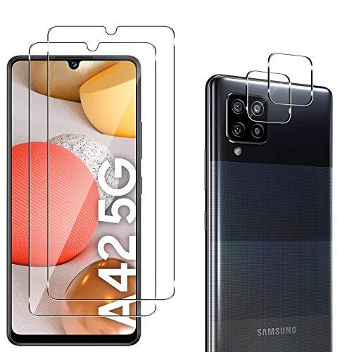 QULLOO für Samsung Galaxy A42 5G Schutzfolie Panzerglas + Samsung Galaxy A42 5G Kamera Panzerglas [9H Härte HD Displayschutzfolie Anti-Kratzen Panzerglasfolie] - 4 Stück