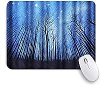 VAMIX マウスパッド 個性的 おしゃれ 柔軟 かわいい ゴム製裏面 ゲーミングマウスパッド PC ノートパソコン オフィス用 デスクマット 滑り止め 耐久性が良い おもしろいパターン (夜の森乾燥した木の枝星空の星夜明けの冬の風景)