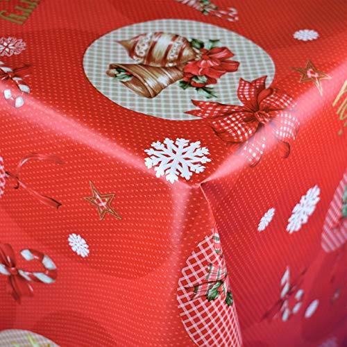 KEVKUS 06074-00 - Mantel de Hule, diseño de Copos de Nieve, Color Rojo, Borde: Recorte (Borde de Ganchillo), Multicolor, 140 x 180 cm Oval
