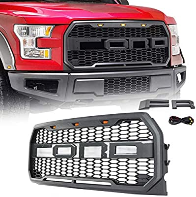 VZ4X4 Front Grill for Ford F150 Raptor 2015 2016 2017, Including XL, XLT, LARIAT, King Ranch, Platinum and Limited, Amber LED Lights included, Raptor Style Grille - (IT IS GRAY)