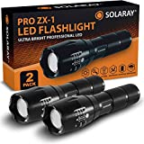 (New) SOLARAY Handheld LED Tactical Flashlights – Professional Series ZX-1 (2 Pack) – Super Bright High Lumen – 5 Light Modes, Adjustable Focus, Outdoor Water Resistant