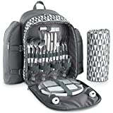VonShef 4 Person Geo Grey Picnic Backpack Bag With Blanket – Includes 29 Piece Dining Set & Cooler Compartment to Keep Food Chilled for Longer