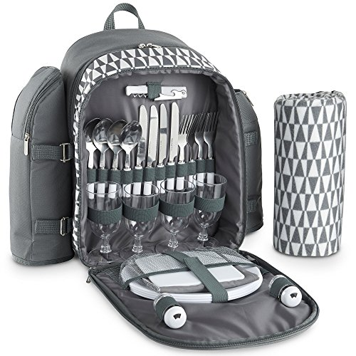 VonShef 4 Person Geo Grey Picnic Backpack Bag With Blanket – Includes 29...