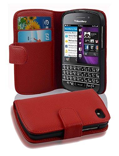 Cadorabo Hülle für BlackBerry Q10 in Inferno ROT – Handyhülle aus Strukturiertem Kunstleder mit Standfunktion & Kartenfach – Hülle Cover Schutzhülle Etui Tasche Book Klapp Style
