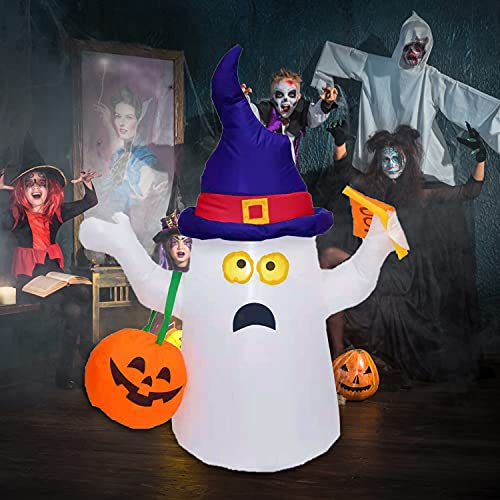 OuToorDoor Ghost Inflatable Halloween Decorations Outdoor – 5ft Inflatable Ghost with Pumpkin Decor – Halloween Blow Up Yard Decorations LED Lights for Indoor, Courtyyard, Balcony, Party