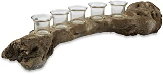 Boho Traders Cement Branch with Five Glass T Lite Holders, Raw Natural