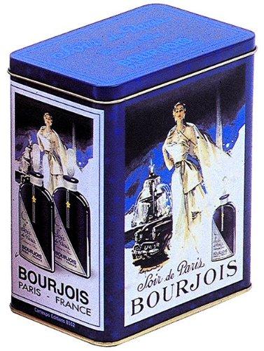 boite metal decorative 12x8x15 cm pub retro parfum bourjois
