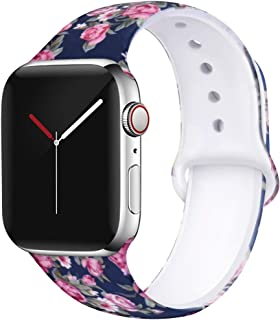 OriBear Compatible with Apple Watch Band 40mm 38mm 44mm 42mm Elegant Floral Bands for Women Soft Silicone Solid Pattern Printed Replacement Strap Band for Iwatch Series 5/4/3/2/1