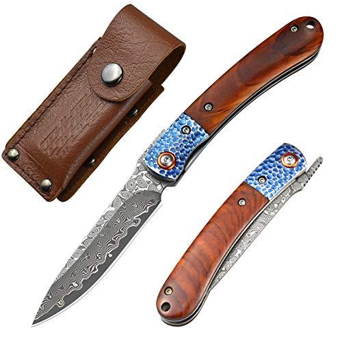 AUBEY Damast Taschenmesser Holzgriff , Klappmesser Damaststahl Jagdmesser Zweihandmesser Holz Damastmesser, Gutes Geschenk