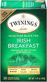 Twinings of London Irish Breakfast Black Tea Bags, 20 Count