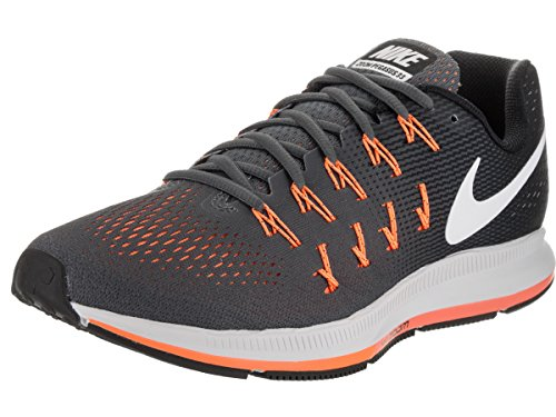 Nike Air Zoom Pegasus 33, Scarpe da Ginnastica Uomo, Grigio (Dark Grey/White/Black/Bright Citrus), 39 EU