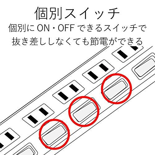 『エレコム 電源タップ 雷ガード 個別スイッチ ほこりシャッター付 6個口 2.5m ブラック T-K6A-2625BK』の5枚目の画像