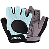 Atercel 2020 Upgraded Workout Gloves, Best Exercise Gloves for Gym, Cycling, Weight Lifting, Breathable, Super Lightweight, for Men and Women (Aqua, M)