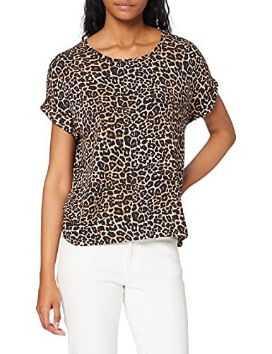 Only ONLMOSTER S/S Top Noos JRS Camiseta, Multicolor (Black AOP: Leo AOP), S para Mujer