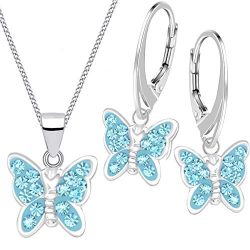 Mädchen Kinder Kristall Schmetterling Brisur Ohrringe + Anhänger + 40cm Kette 925 Silber Set (Blau + Geschenkbox)