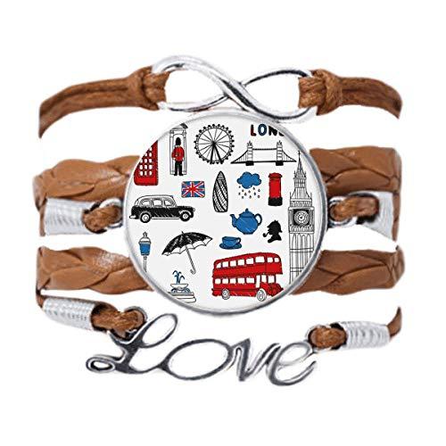 DIYthinker London Big Ben Booth Rain Mailbox Bracelet Love Chain Rope Ornament Wristband Gift