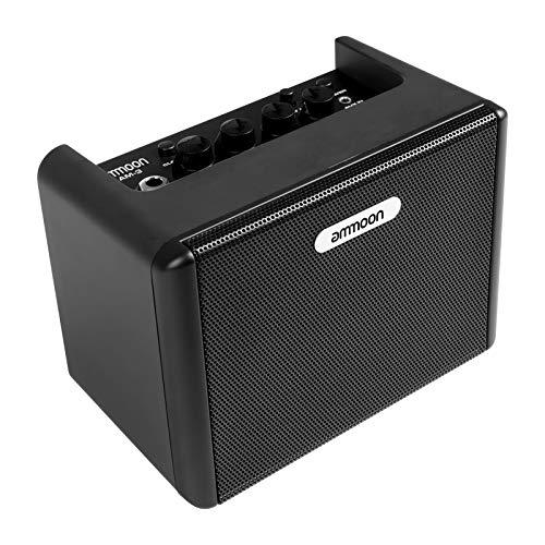 ammoon Mini Amplificatore Chitarra Elettrica, Ampli Combo da Tavolo da Amplificatore da 3,2W Incorporato con Effetti di Ritardo di Distorsione Uscita per Cuffie da 3,5 mm Aux In