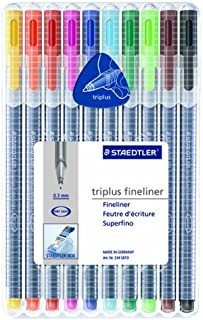 Staedtler Triplus Fineliner Pens, Pack of 10, Assorted Colors (334 SB10A604)