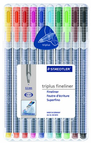 Staedtler Triplus Fineliner Pens, Pack of 10, Assorted Colors (334 SB10A604)