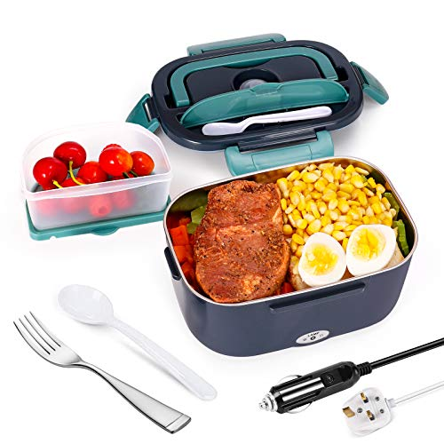 Andmenow Electric Lunch Box 3 in 1 for Car/Truck and Office, Portable Heater 220V &24V&12V 40W Stainless Steel Food Heater 1.5L, Spoon and 2 Compartments Included (GreyGray)