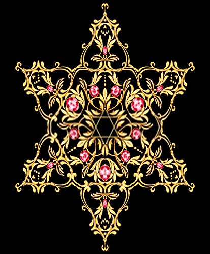 5D DIY Diamond Painting Kits Hanukkah Star with Filigree Golden Jewel Ruby 16' X 20' Full Drill Painting Arts Craft Canvas for Home Wall D¨¦cor Cross Stitch Gift