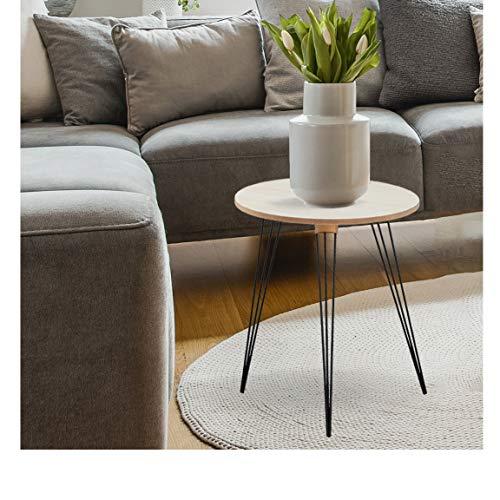 Bada Bing 2er Set Beistelltisch Rund Ca. 45,5 x 39,5 x 39,5 cm Metall Holz 3 Tischbeine Tisch Wohnzimmertisch Couchtisch Ablage Geschenk Deko Modern 32