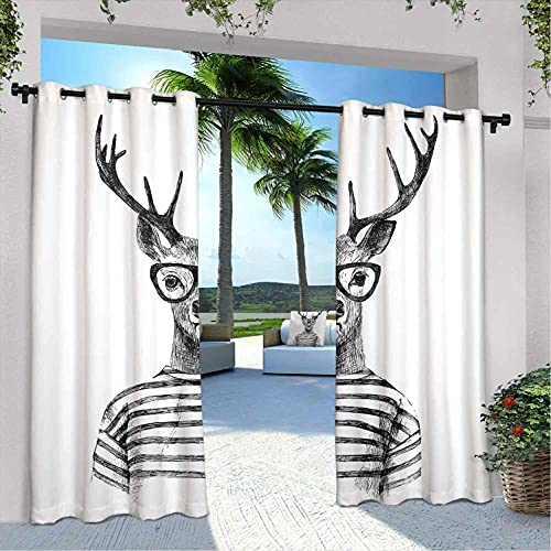 Cortinas de ciervo al aire libre para patio impermeable, estilo hipster humano con gafas despojadas, adecuadas para pabellones de terraza al aire libre, 108 x 84 pulgadas, gris carbón blanco
