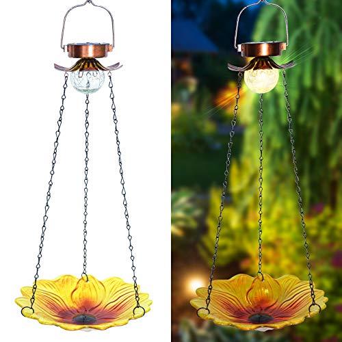 ALLADINBOX 24 inch Solar Wild Bird Bath/Feeder Outdoor Metal Hanging Glass Sunflower Feeder Tray Crackle Ball Light Waterproof Yard Garden Decoration