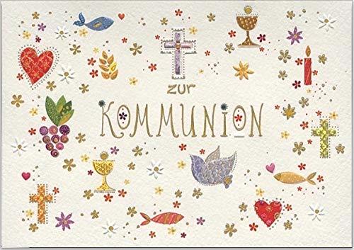 Wunderschöne hochwertige Grußkarte mit Umschlag zur Erst-Kommunion, geprägtes Reliefpapier (original von Turnowsky, est. 1940) mit christlichen Symbolen