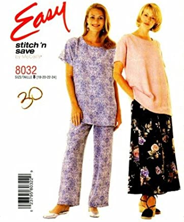 McCalls 8032 Sewing Pattern Misses Full Figure Top Skirt Pants Size 18 - 24