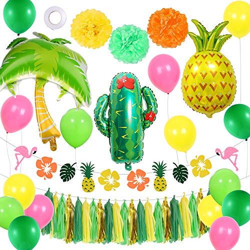 AYUQI Decoración de Fiesta Tropical con Pancarta de Flamenco, Globos de látex,Piña de Aluminio y Globos de Coco y Cactus para la Fiesta de Verano de la Playa de la Selva Hawaiana de Luau