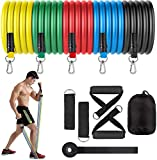 Fashnex Resistance Bands Set for Strength Training, Mobility, Toning. Tubes with Foam Handles, Door Anchor, Ankle Straps, Carry Bag for Men/Women (Resistance Band Set of 5 Tubes)