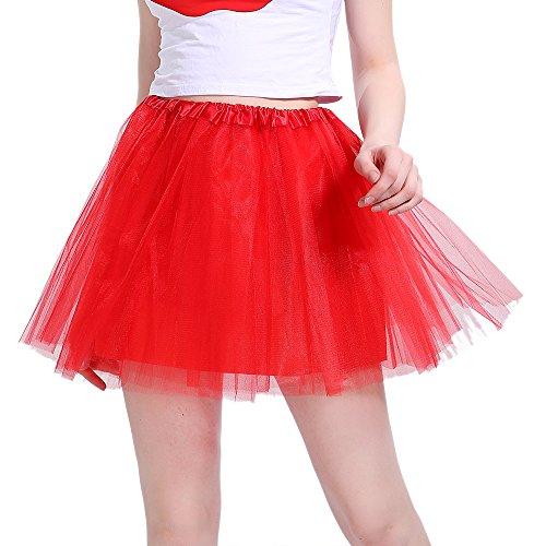 InnoBase Tutu Damenrock Tüllrock 50er Kurz Ballet 3 Layers Tanzkleid Zubehör für Frauen Mädchen 8 Farben (Rot)