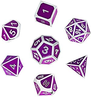 Welltop DND Dice Set Bulk 7-Die Metal Game Science Polyhedral Dice with Pouches for Dungeons and Dragons DND RPG MTG Games Math Teaching