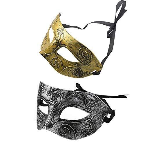 Her Kindness 2Stücke Römische Maske,Herren griechisch-römischen Gesichtsmaske Partei Karneval Maske(Gold&Silber)