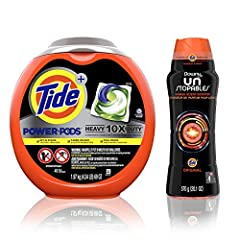Designed for impossible stains: grease, oil, wine 50% more cleaning power in large loads vs Tide Original liquid Fights set-in stains, caked-on dirt, foul odors Downy Unstopables In-Wash Scent Booster Beads gives your laundry up to 12 weeks of Tide f...