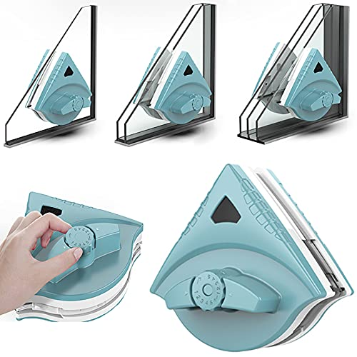LZH FILTER Brosse de Nettoyage pour vitres Double Face avec Corde Anti-Chute pour vitrage de Grande Hauteur avec Une épaisseur de 5 à 35 mm,Vert
