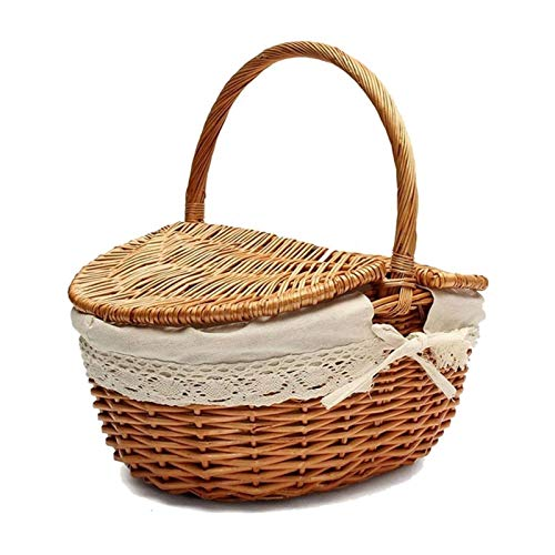 Cesta de almacenamiento de calidad Cesta de mimbre hecha a mano con mango, cesta de picnic de camping de mimbre con tapas de doble, cesta de almacenamiento de compras con canasta con tela lin Respetuo