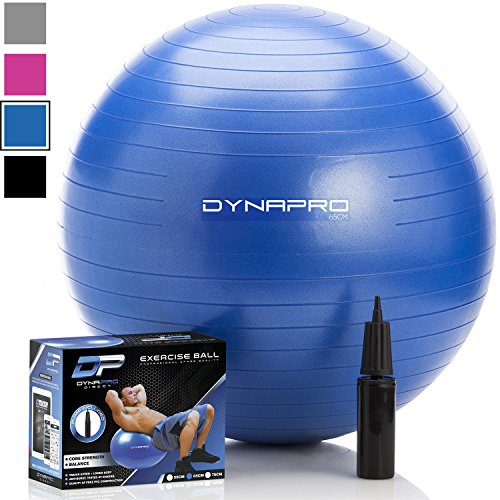 DYNAPRO Exercise Ball - 2,000 lbs Stability Ball - Professional Grade – Anti Burst Exercise Equipment for Home, Balance, Gym, Core Strength, Yoga, Fitness, Desk Chairs (Blue, 55 Centimeters)