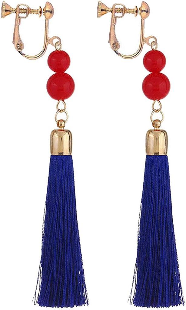 Womens Elegant Gourd Clip on Dangle Earrings Long Thread Linear Tassel Red Resin Beaded Bride Drop
