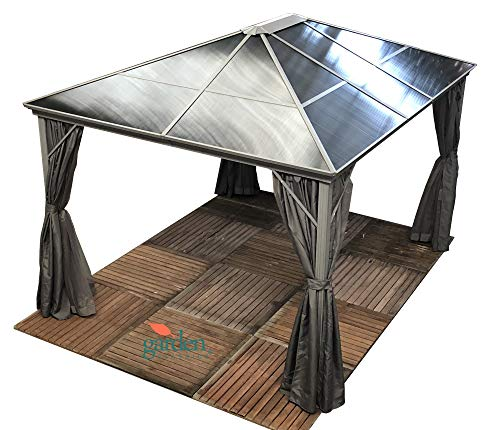 Swanbourne garden party Gazebo Hardtop Smoked Polycarbonate roof, 3.6m x 3m, privacy sides & mosquito nets, Suitable for Hot tubs.GREY CURTAINS.