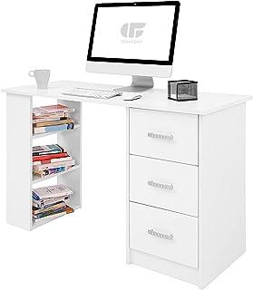 COMIFORT Escritorio Blanco Ordenador Pequeño   Cajones y Estantes, Mesa de Oficina Escritorios Juveniles para el Ordenador...