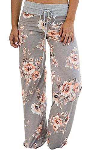 Angashion Damen Blumenmuster Weite Bein Lange Hose, Grau2, EU L(38)
