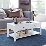 HOMECHO Coffee Table with Drawers - 42.5' Lx23.2 Wx17.9 H, White Center Table, Wood Modern Cocktail Sofa Table with Storage Shelf for Living Room, Home Office