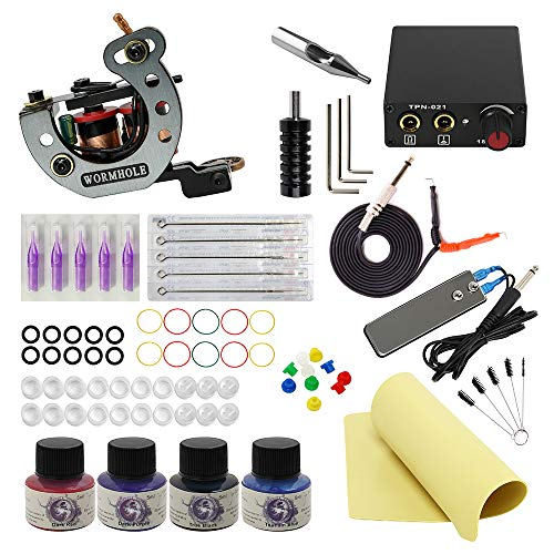 Wormhole Tattoo Maschine Set komplett 1 Tattoo Maschine 1 Tattoo Netzteil 5 Tattoo Nadel 4 Tattoo Ink Tattoo Set (TK1000030)